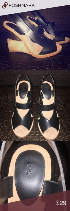 Zara Mirror Wedges Edgy yet feminine black, wooden, golden mirror metallic wedges. Great condition minimal signs of wear. Please contact me with questions. Zara Shoes