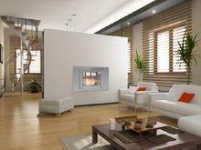 Eco-Feu WELLINGTON 2 Sided Ethanol Fireplace - Stainless Steel