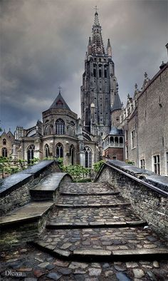 Amazing Places — Church of our Lady - Bruges - Belgium (von dleiva) Places Around The World, Oh The Places You'll Go, Travel Around The World, Places To Travel, Places To Visit, Around The Worlds, Travel Destinations, Wonderful Places, Beautiful Places