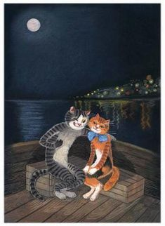 Romantic cat paintings. Tatyana Rodionova