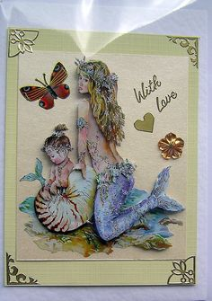 Mermaid HandCrafted 3D Decoupage Card  With Love by SunnyCrystals, $3.55