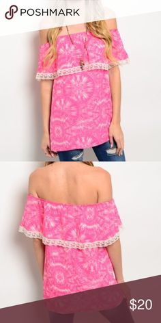 MFYO Boutique OTS Top Beautiful OTS top with a beautiful pink tie dye print and beautiful detailing around the shoulder! So cute and can be worn year round😊❤️ MFYO Boutique Tops
