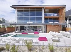 Beach House:Two Storey Beach House Outdoor Pool White Floor Traffic MASTER Square Contemporary Ceramic Tile Flooring Outdoor Kitchen Dining ...