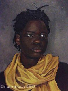 "Christine Hirtescu, ""Girl In The Silk Scarf"" List Of Basic Colors, African American Art, Black Power, Black Art, Dark Skin, Painting Inspiration, Female Art, Oil On Canvas, Silk"