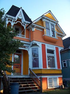 "Orange Victorian ""painted lady""  Never would have thought a house painted orange could be so pretty,"