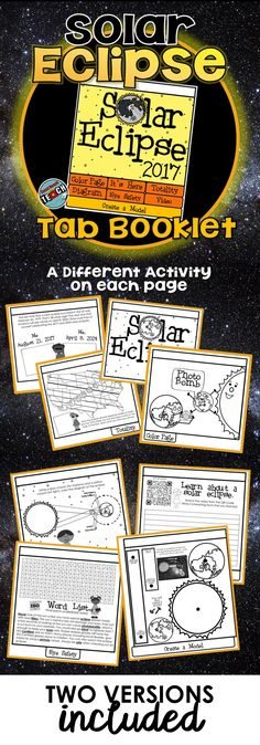 Solar Eclipse 2017 Tab Book or Worksheet Pack Solar Eclipse Facts, Solar Eclipse 2017, First Grade Science, Fourth Grade Math, Earth And Space Science, Earth Space, Eclipse Book, Astronomy Facts, Algebraic Expressions