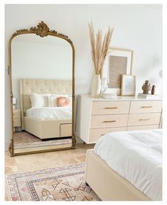 Neutral Bedroom Decor, Room Ideas Bedroom, Home Decor Bedroom, Living Room Decor, Parisian Bedroom Decor, Mirror For Bedroom, Cool Home Decor, Adult Bedroom Ideas, Mirror Over Bed