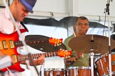 Jack DeJohnette (right) will turn 70 not long after the Newport Jazz Festival ends, but you wouldn't know it from the two vigorous sets he performed with two different groups on Saturday. Gregory Porter, Newport Jazz Festival, Wayne Shorter, Herbie Hancock, Visual Arts, Two By Two, Fandom, Music, Musica