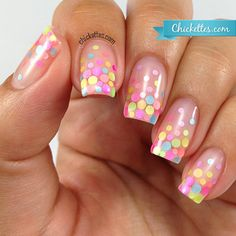 Chickettes.com dotted glitter gradient with round pastel glitters #nailart #nails #mani