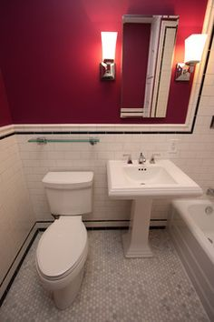 Pedestal sink?  The floor tile looks like the ebay listing!    Chicago Bungalow Bathroom Near Montrose and California craftsman bathroom