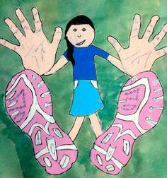 Perspective Art-extra opdracht of goede opdracht voor 6-8 jaar. Handen en voeten op ware grootte tekenen.