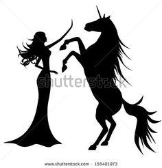 Silhouette of beautiful girl and unicorn  by Ferdiperdozniy, via ShutterStock