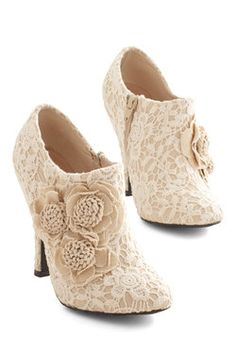 A Lovely Change of Lace Bootie. Spice things up by stepping into these dreamy beige and ivory booties from Dolce by Mojo Moxy. #tan #wedding #bridesmaid #bride #modcloth