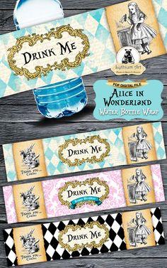 Alice in Wonderland Water Bottle Wraps - Bottle Wrap - Water Bottle Labels…