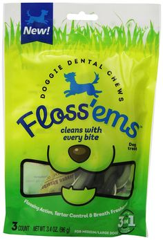 Floss'ems Doggie Dental Chews for Large Dogs *** Discover this special dog product, click the image : Dog Health Supplies