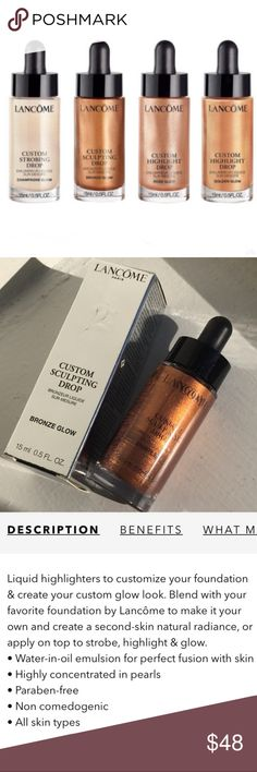 💛NEW💛Lancome Custom Sculpting-Highlighting Drops 💛NEW!💛Lancome Custom Sculpting & Highlighting Drops in Bronze Glow (15ml/0.5oz) NEW! BNIB!  Lancome Custom Glow Drops are for Strobing-Bronzing-Highlighting. Wear Alone, Mix w/Moisturizer or Mix w/ Foundation, Your in Control. Light Weight, Oil & Paraban Free!  ALL BRAND NEW & UNTOUCHED! 🚫Trades🚫Price Firm Sephora Makeup Luminizer