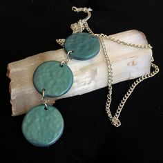 Sea Green Hammered Metal Effect Trio Pendant by SanityHalo, $25.00 CAD