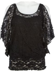 ce9e3eebfda13f Halo Smocked Cold Shoulder Lace Top BLACK Medium Halo.  19.99