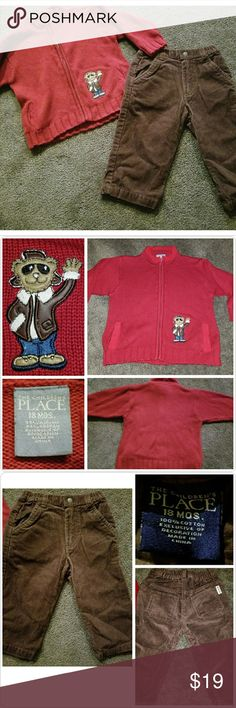 Children's Place Toddler Boy Outfit Adorable 2 piece outfit Size 18 Months from The Children's Place:  Dark red zip-up style sweater with a cool dude bear patch and pull on brown corduroy pants.  Excellent pre-owned condition, smoke-free home. Children's Place Other