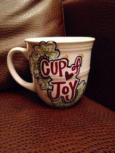 Cup Of Joy Hand Painted Mug  Coffee Mug by Useless2Unique on Etsy, $14.99