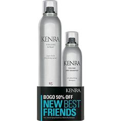 Kenra Professional Volume Spray 25 / Volume Dry Shampoo Duo - Volume Spray 25 and Volume Dry Shampoo are new best friends. Volume Spray 25 is a super hold finishing spray that provides up to 120 hour super hold and 24 hour high humidity resistance. It resists wind up to 25 MPH and is flake-free and fast-drying. Volume Dry Shampoo is an oil absorbing shampoo that refreshes styles with up to 6X the volume*. Volume Dry Shampoo instantly refresh hair at the root and absorb oils and impurities.