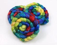 Merino Wool/ Silk Roving  Handpainted Fiber for by woolgatherings, $29.00