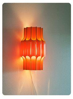 Danish wallhanging lamp Bent Karlby Fantastic orange by OldAndCold, $270.00