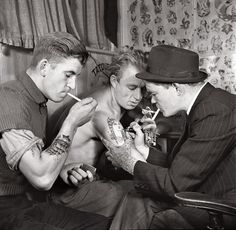"""""""The attractions of tattoos for itinerant populations are quite obvious,"""" says tattoo-art historian Matt Lodder. """"They can't be lost or stolen and they don't encumber an already heavily burdened traveler, so it's not a surprise that they became inextricably linked with sailors."""""""