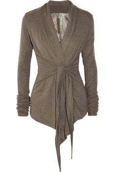 Tie-Front Jersey Cardigan. These are great for dressing up jeans or throwing over the black pants from suit. Be sure to wear a tank or cami underneath.