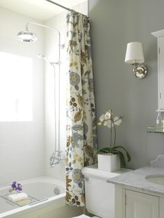 shower head, shower curtain