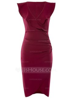 Polyester With Stitching Knee Length Dress (199166899) 66f7ace2800