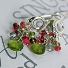 Rainbow Tourmaline Drop Earrings with by CapitalCityCrafts on Etsy, $36.00