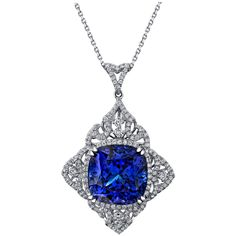 Sensational 29.51 Carat Cushion Tanzanite Diamond Pendant Necklace | From a unique collection of vintage drop necklaces at https://www.1stdibs.com/jewelry/necklaces/drop-necklaces/