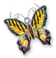 Amia 8261 Tiger Swallowtail Butterfly Suncatcher Hand Painted Glass, 5-1/4-Inch W by 5-Inch L by Amia. $14.91. 5 1/4-inch w by 5-inch l. Includes chain. Hand-painted glass. Amia Tiger Swallowtail butterfly suncatcher.  Hand-painted glass, includes chain. Comes gift boxed, perfect gift for someone special.. Save 10% Off!
