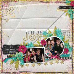 Sibling Joy digital scrapbook page layout by Annette Pixley (pixleyyy)