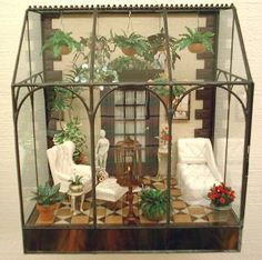 """12"""" inch Wall Hanging Conservatory - oh my goodness, I have a couple of these in the attic, too small for decent plants - YAY - now they have a future : )"""