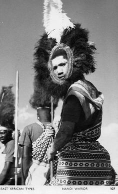 East African Types | Nandi Warrior || Vintage postcard; publisher S Skulina, Pegas Studio.  No 107.