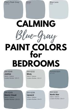 Blue gray paint colors are the perfect paint color option for bedrooms. Blue gray paint colors promote calmness and relaxation. bedroom The Absolute Best Blue Gray Paint Colors - West Magnolia Charm Blue Gray Paint Colors, Paint Colors For Home, Paint Colours For Bedrooms, Gray Color Schemes, Bluish Gray Paint, Magnolia Paint Colors, Best Bathroom Paint Colors, Farmhouse Paint Colors, Colors For Small Bedrooms