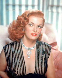 Jane Russell became a redhead as tart with a heart 'Mamie Stover.' Away from Howard Hughes' RKO, Jane Russell usually fared better,. Vintage Hollywood, Old Hollywood Movies, Old Hollywood Glamour, Hollywood Actresses, Classic Hollywood, Actors & Actresses, Hollywood Dress, Jane Russell, Hollywood Stars