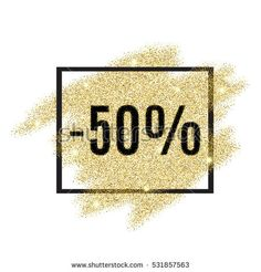 50 percent off discount promotion tag. Promo sale label. New Year, Christmas offer. Gold sale background for flyer, poster, shopping, card, web, header. Vector gold glittering illustration.