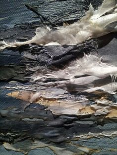 Layered & Distressed Textiles Surface Design with mixed fabrics, paper & hand-stitched detail // Laura Edgar
