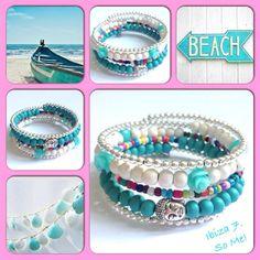 Ibiza! Moderne, mooie zelfgemaakte armbanden, glas parels, glas kralen , Memory…