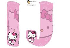 Alfabeto de Hello Kitty en fondo rosa. | Oh my Alfabetos!