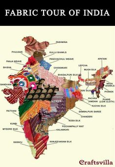 One for the handloom lovers. This map shows the astonishing diversity of textiles from India Indian Fabric, Indian Textiles, Pakistan Map, Pakistan News, Voyager C'est Vivre, Sambalpuri Saree, Handloom Saree, India Map, India India