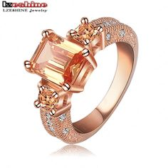 Beautiful Ring Rectangle Zircon Cutting Ring 18K Rose Gold/Platinum Plated Women Rings Fashion Jewelry Wholesale Ri HQ1018-in Rings from Jewelry on Aliexpress.com | Alibaba Group