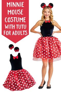 Minnie Mouse Costume with Tutu for Adults by ShopDisney! Yoo Hoo! Step into the spotlight when wearing this flirty '30s adult Minnie Mouse costume with layered tulle tutu skirt, plus glittering polka dots and fuzzy mouse ears. #minniemouse #disneystyle #disneycostume #ad Mini Mouse Outfit, Mini Mouse Costume, Minnie Mouse Halloween Costume, Cute Halloween Costumes, Halloween 2020, Halloween Ideas, Halloween Party, Tutu Costumes, Disney Costumes