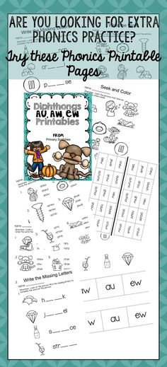If your students need help with Diphthongs, this file is for you. This resource gives students a change to practice the diphthongs au, aw, ew. I also have resource packs for the other diphthongs as well if you need them. Motivational Activities, Reading Skills, Guided Reading, Framed Words, Math Graphic Organizers, Sight Word Activities, Word Sorts, Literacy Stations, Math Notebooks