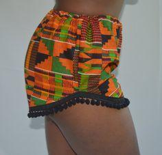 Items similar to Kente Pom Pom Shorts on Etsy African Fashion Ankara, Latest African Fashion Dresses, African Print Fashion, African Wear, African Attire, African Dresses For Kids, African Print Dresses, African Swimwear, African Traditional Dresses