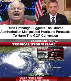 Rush Limbaugh suggested the Obama Administration manipulated hurricane forecasts in order to: a) Scare people b) Hurt the GOP convention c) Stir up attacks on George Bush.