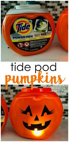 Tide Pod Container Pumpkins - cute lighted pumpkin decor to make easily! Cute halloween outdoor decorations. Halloween craft for adults to make. Cricut craft.